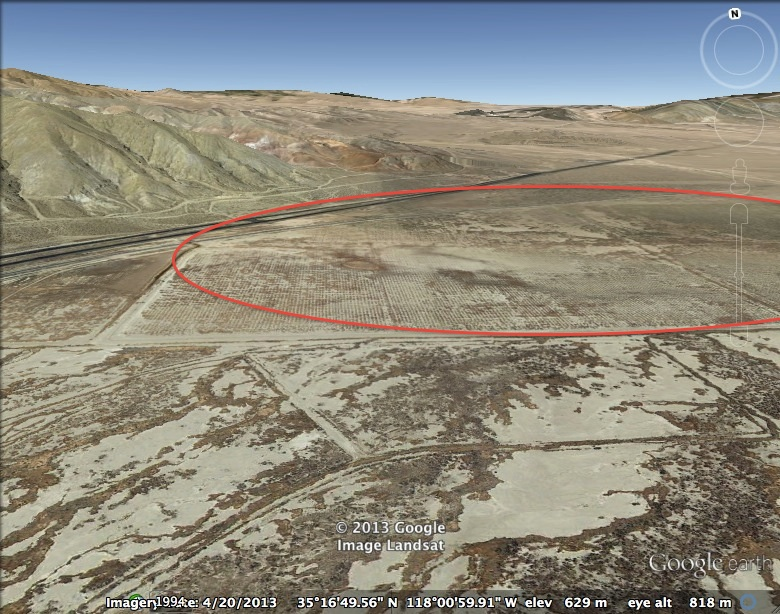 Google image of proposed AquaHelio site where it abuts the highway south of Jawbone Canyon.