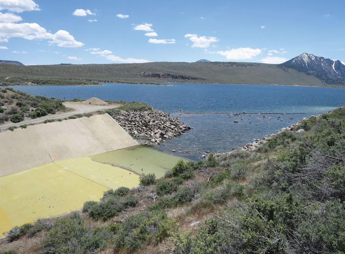 Overflow spillway from Grant Lake Reservoir. hoto courtesy of the Mono Lake Committee