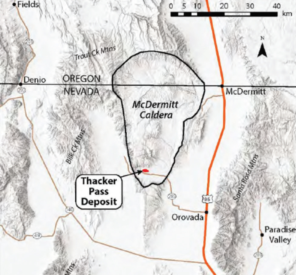General location of the Thacker Pass lithium mine within the 17-million-year-old McDermitt Caldera of north-central Nevada.