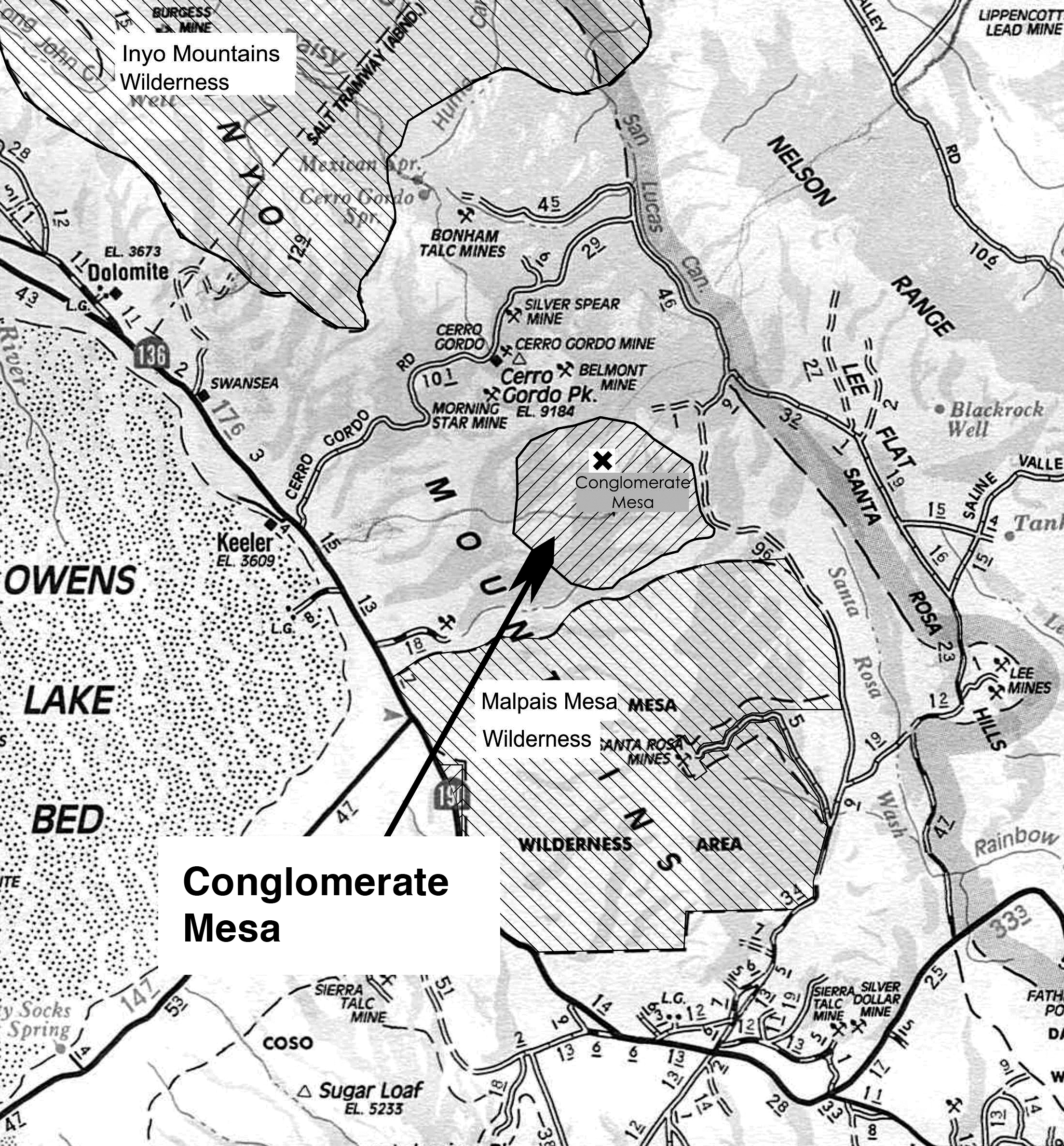 Conglomerate Mesa is east from Olancha, CA, and on the east side of Owens Lake.