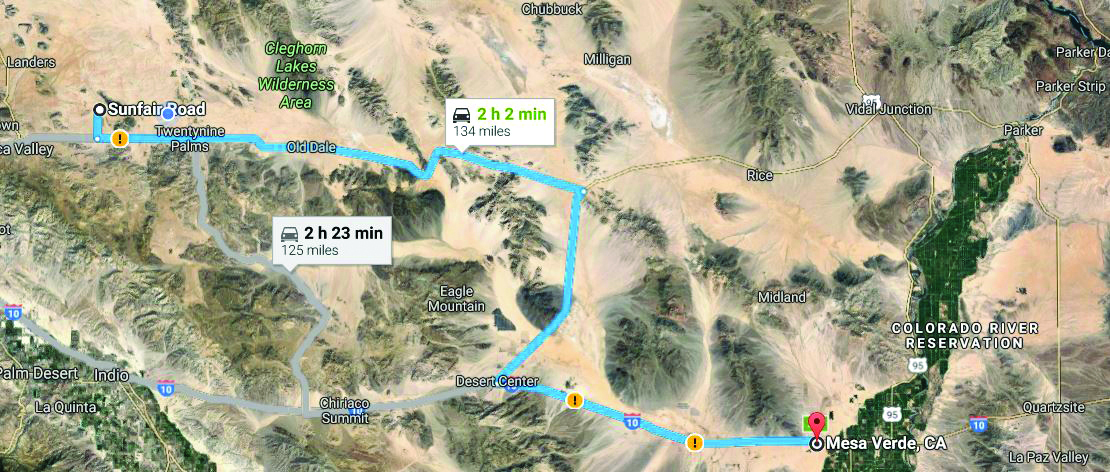 Figure 1. You can drive the STP by following the blue line on this Google Map. From Joshua Tree, drive east on Hwy. 62 to Hwy. 177, go south to Desert Center, and finally east on the I-10 to Mesa Verde and the Colorado River.