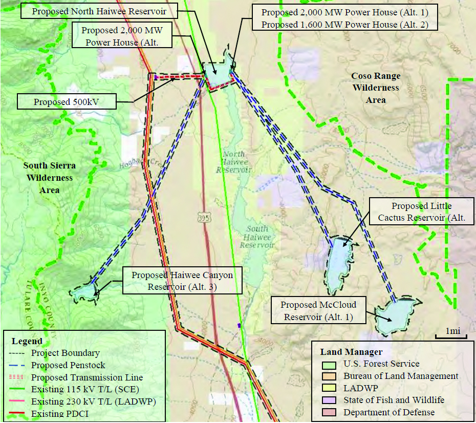 The most recent proposal for the Haiwee Pumped Storage Project. Map from PE proposal documentation