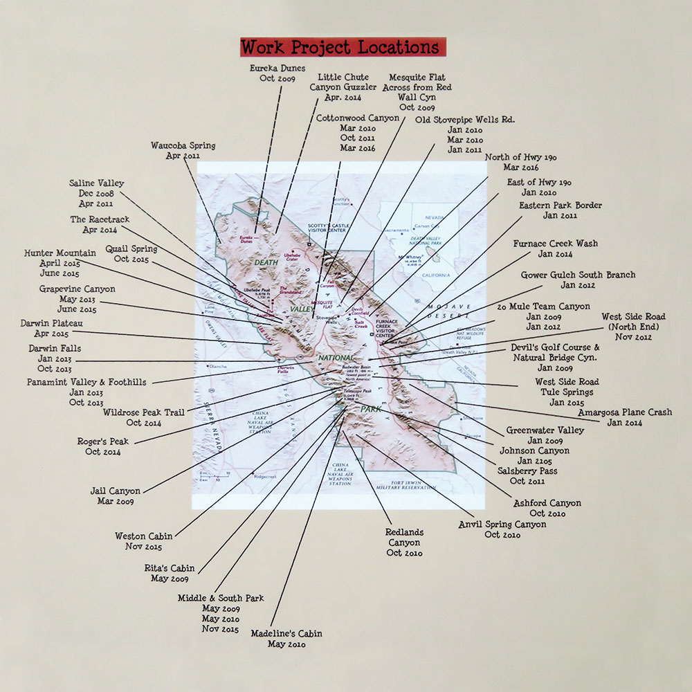 Work locations in Death Valley National Park