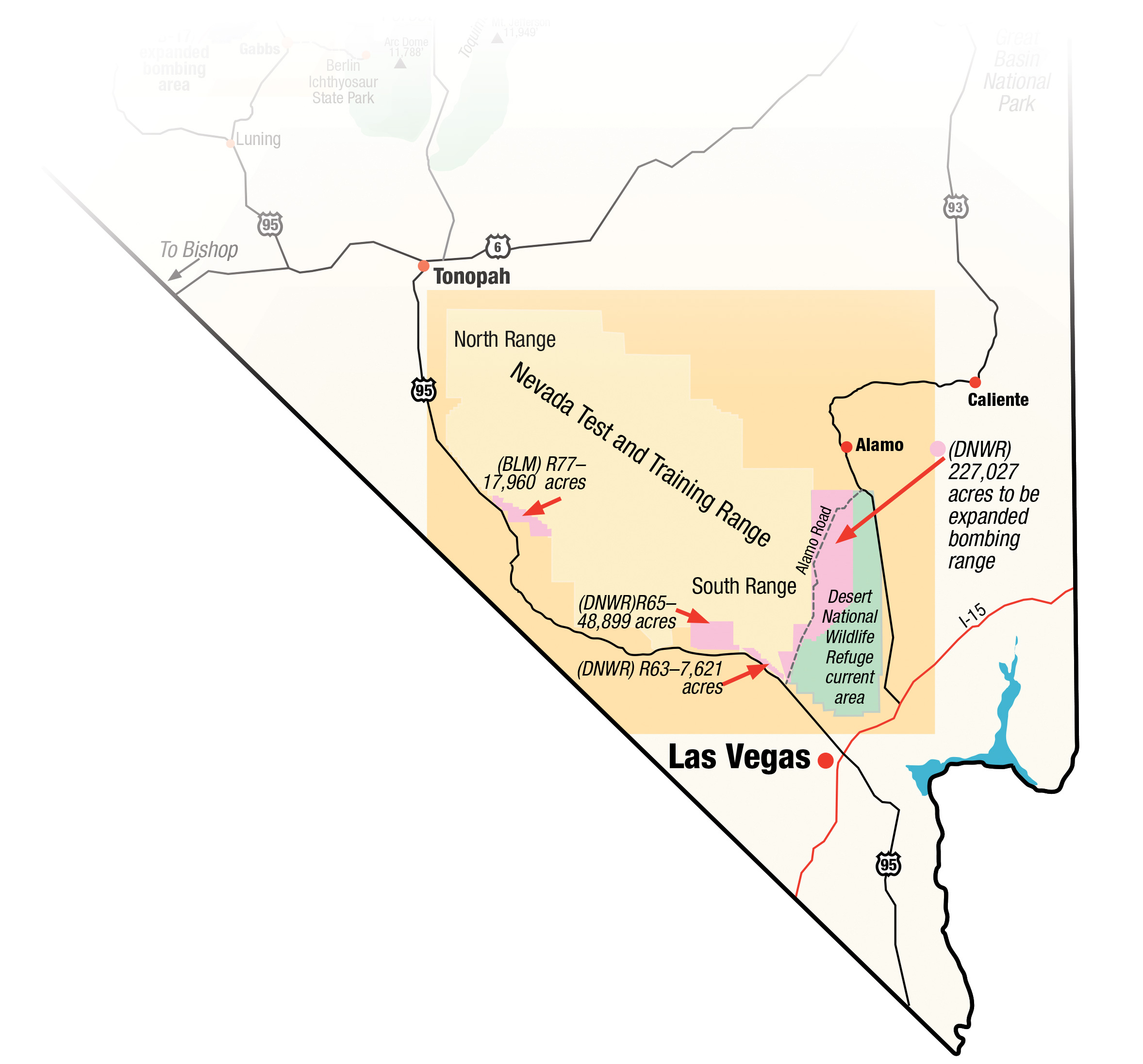 Nevada map showing the proposed expansion of the Nevada Test and Training Range. Photo by Wynne Benti