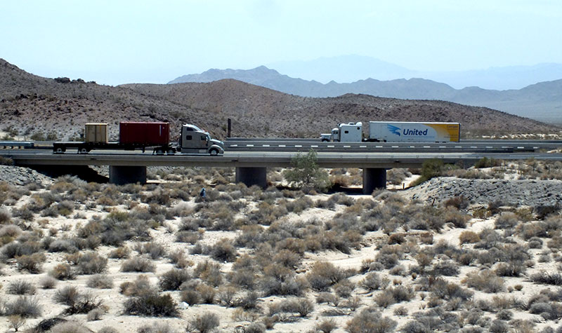 Highway 40 passing over a desert wash. Photo by Clinton Epps.